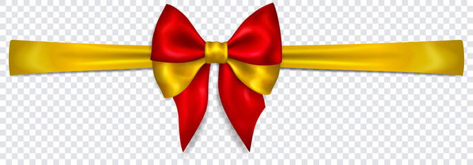 Beautiful bow in colors of Spain flag with horizontal ribbon with shadow on transparent background. Transparency only in vector format