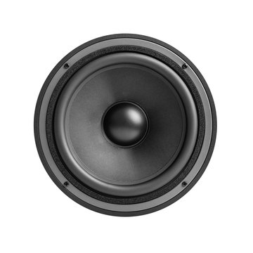 Black speaker isolated on a white background.