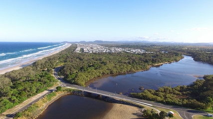 Cudgen Creek Bridge Kingscliff New South Wales Australia with Casurina Beach in background