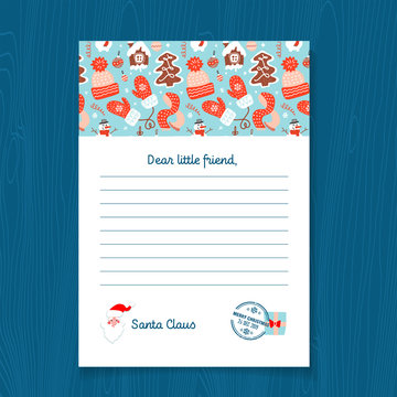 Response letter from Santa Claus template. Christmas Pattern with Gingerbread men, Mittens, knitted hat, scarf, snowman. illustration on A4 sheet with postal stamp.