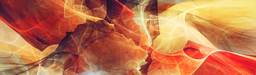Obraz Abstract future background. Red and yellow color banner. Fractal artwork for creative graphic design - fototapety do salonu