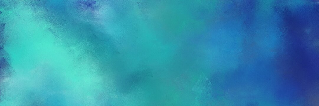 diffuse painted banner texture background with steel blue, light sea green and dark slate blue color. can be used as texture, background element or wallpaper