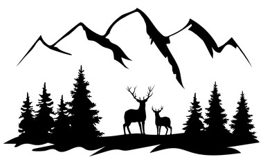 Vector deer and the mountains