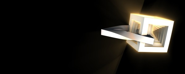 shiny triangle and box on black background