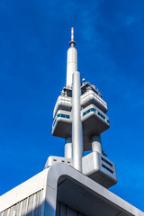 Prague, Czech Republic - October 26, 2019: Zizkov Television Tower (built in 1985-1992) in Prague. Designed by the architect Vaclav Aulicky and the structural engineer Jiri Kozak. Height is 216 metres