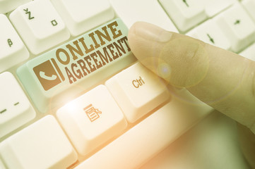Text sign showing Online Agreement. Business photo showcasing contract modelled signed and executed electronically