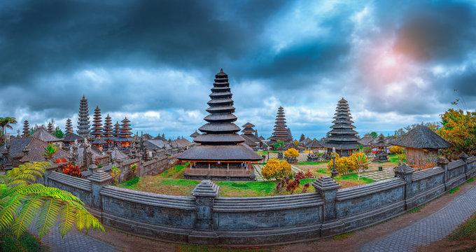 Panorama of Pura Besakih temple, Bali, Indonesia.