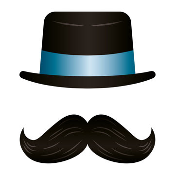 elegant top hat accessory with mustache