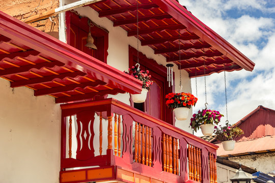 colorful wall with door and windows salento town colombia