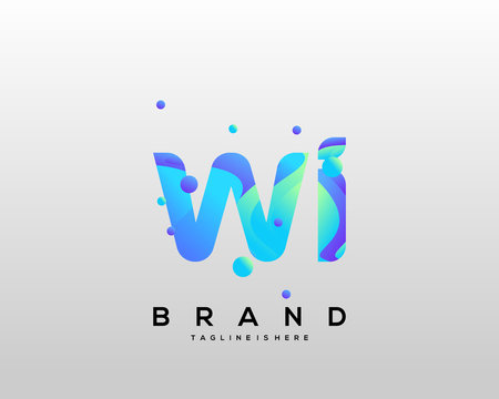 Initial letter WI logo with colorful, letter combination logo design for creative industry, web, business and company. - Vector