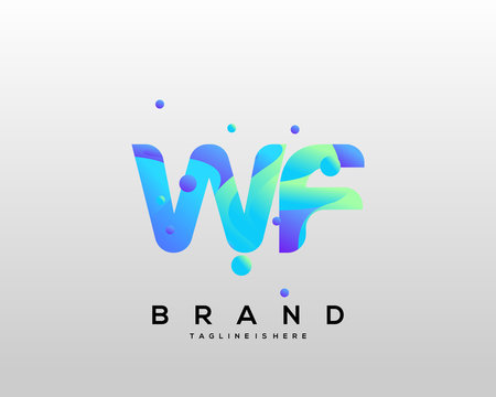 Initial letter WF logo with colorful, letter combination logo design for creative industry, web, business and company. - Vector