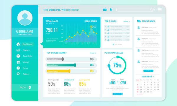 Dashboard template for admin sales report