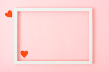 Valentine's Day Concept, Top view Flat lay, photo frame