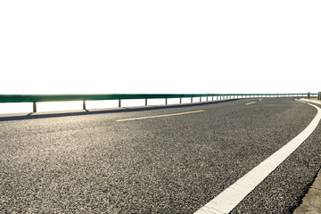 Empty asphalt road highway ground and white background. Fotomurales