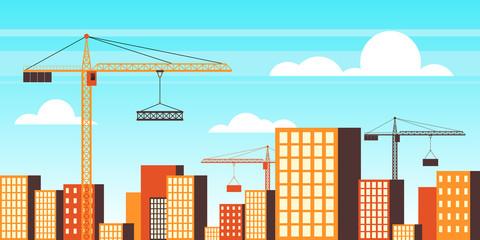 Photo sur Plexiglas Turquoise cityscape and tower cranes, vector flat illustration.