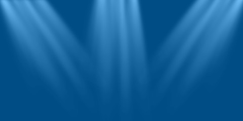 Empty scene blue wall with three spotlights. Stock image of abstract spot light on blue blank background, glowing color bright beams on stage. Beautiful for design card, advert anniversary, product