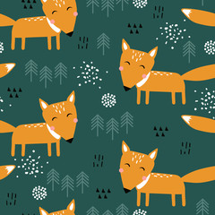 Door stickers Bestsellers Kids Seamless pattern, foxes and fir-trees, hand drawn overlapping backdrop. Colorful background vector. Illustration with animals. Decorative wallpaper, good for printing