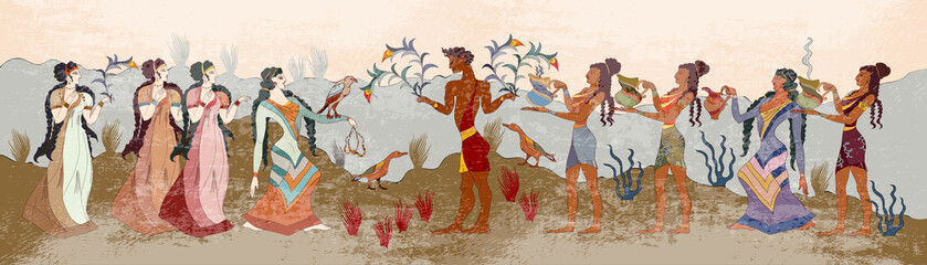 Ancient Crete. Heraklion. Knossos murals mythology. People of Ancient Greece, old frescos. Minoan civilization Fototapete