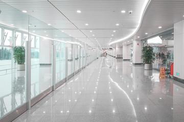 Commercial building corridor hall, Windows through light. Fotomurales
