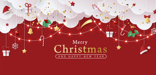 Wall Mural - Winter christmas banner background composition in paper cut style.Celebration quotation for card.Vector illustration.