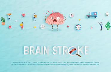 Brain stroke disease. Heart awareness concept. Atherosclerosis stages. The red epicenter of the pain of the brain, health care cartoon. Suitable For Wallpaper, Banner, Background.Vector Illustration