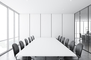 White panel meeting room and open space office