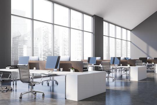 Panoramic gray open space office corner