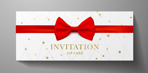 Luxurious VIP Invitation template with red bow tie (ribbon), lines, golden stars on white background. Premium class design for Gift certificate, Voucher, Gift card  Wall mural