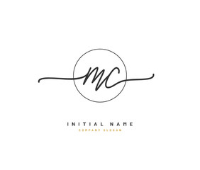 M C MC Beauty vector initial logo, handwriting logo of initial signature, wedding, fashion, jewerly, boutique, floral and botanical with creative template for any company or business.