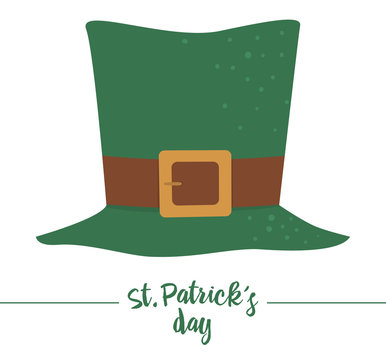 Vector flat funny green leprechaun's hat with brown belt. Cute St. Patrick's Day illustration. National Irish holiday icon isolated on white background..