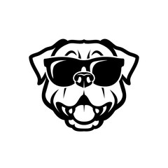 Rottweiler dog wearing sunglasses - isolated outlined vector illustration - Vector