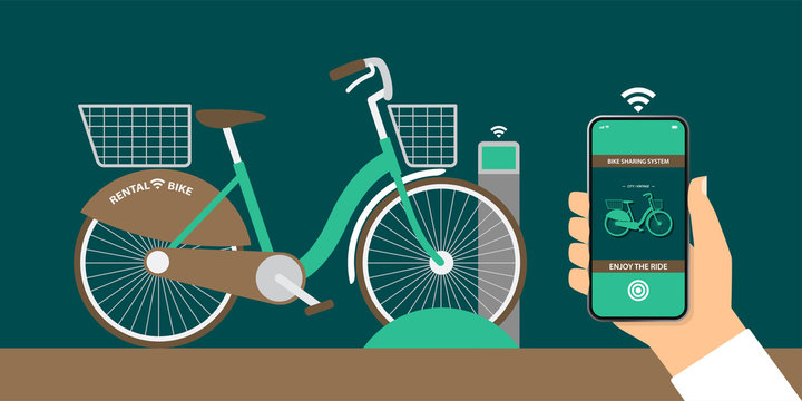flat design illustration vector, bicycle sharing system with special bike rack, hand holding smartphone with bike rental app that ready to release bike rack via internet, smart technology concept.