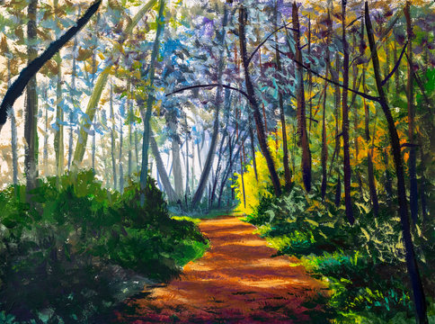 Original artistic modern impressionism hand painting Path sunny footpath road in sunlight park alley forest rural landscape watercolor drawing oil art nature tree artwork