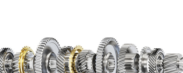 Engine gear wheels, isolated on white background. Fototapete