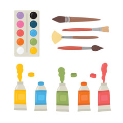 Painting tools elements cartoon colorful vector set. Art supplies paint tubes, brushes, watercolor, palette.