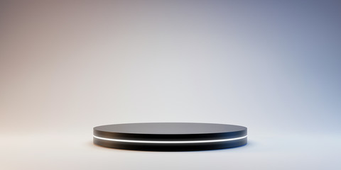 Obraz Black Pedestal of platform display with neon modern stand podium on white room background. Blank Exhibition stage backdrop or empty product shelf. 3D rendering. - fototapety do salonu