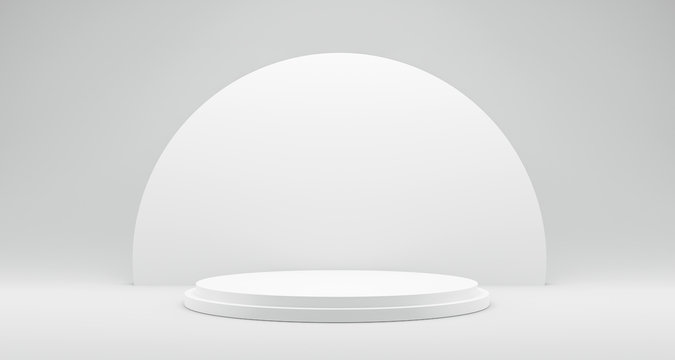 Pedestal of Platform display with modern stand podium on white room background. Blank Exhibition stage backdrop or empty product shelf. 3D rendering.