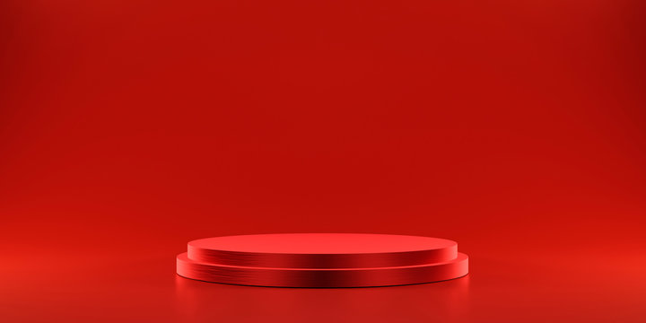 Pedestal of platform display with modern stand podium on red room background. Blank Exhibition stage backdrop or empty product shelf. 3D rendering.