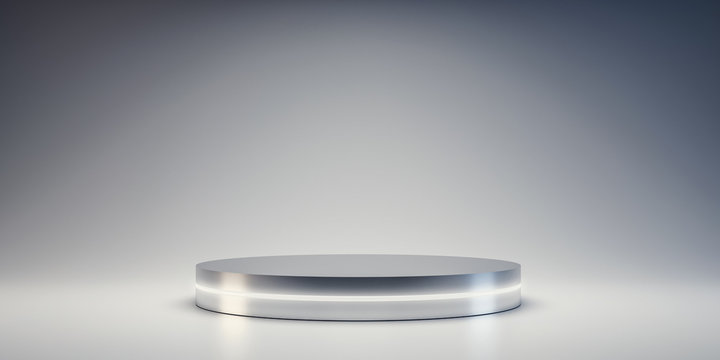 Silver Pedestal of platform display with neon modern stand podium on white room background. Blank Exhibition stage backdrop or empty product shelf. 3D rendering.