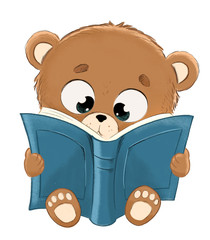 Teddy reading a book. Curious and adorable