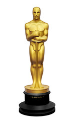 Oscar statue illustration on white background