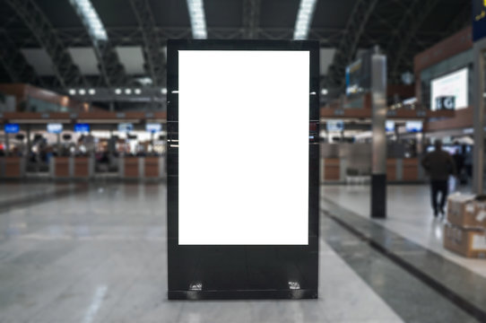 Airport hall billboard mock up with white screen, alpha channel. Business concept, indoor board, empty frame.