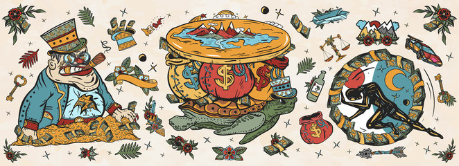 Wealth and poverty. Old school tattoo vector collection. Angry boss capitalist, flat Earth, turtle and bags of money. Hamster wheel, mortgages, loans, taxes. Hard life. Traditional tattooing style