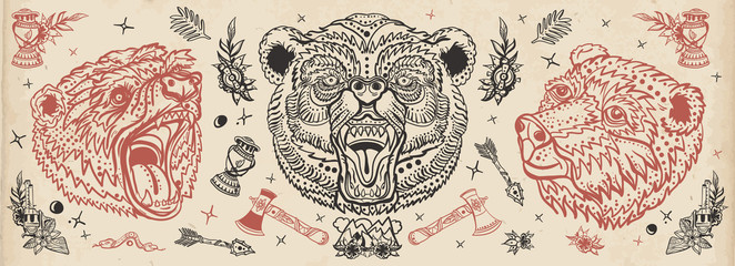 Bear head. Vintage old school tattoo collection. Aggressive grizzly, traditional tattooing style