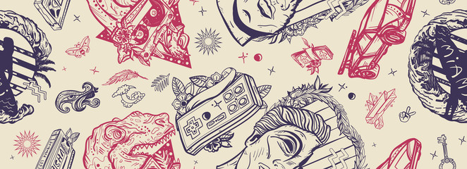 Pop culture seamless pattern. Retro wave music art. Nostalgic 80s, cyberpunk style. Old school tattoo style. Statue head, surfing woman, game controller. Audio cassette, VHS type and tyrannosaur