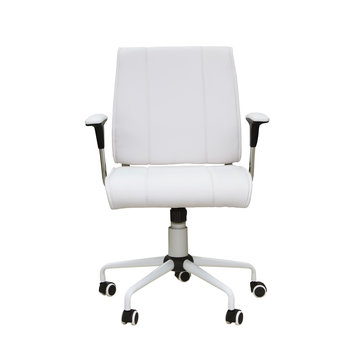 The office chair from white leather. Isolated over white