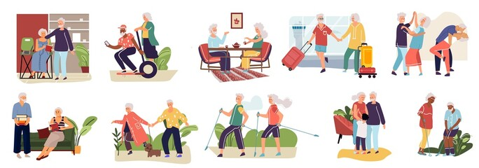 Elderly couples. Cartoon hand drawn old characters spending time together, shopping resting in cafe making exercises. Vector image collection set activity grandparents