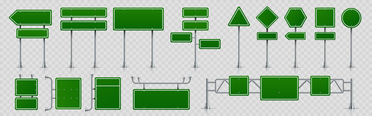 Highway signs. Green pointers on the road, traffic control signs and road direction signboards. Vector illustration information empty roadside signs set on transparent background Fototapete