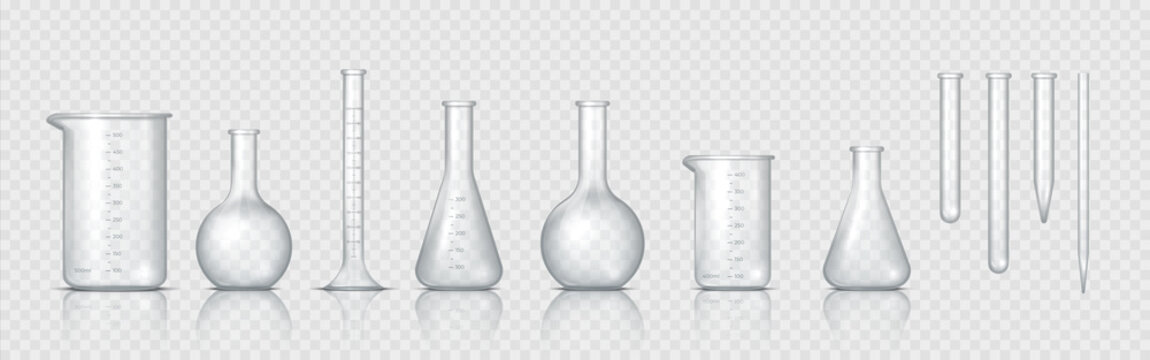 Laboratory glassware. Realistic lab beaker, glass flask and other chemical containers, 3D measuring medical equipment. Vector set tool for chemistry experiments or biotechnology testing
