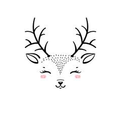 Vector Cute Reindeer Head. T-shirt Print Design for Kids with Little Deer Face. Doodle Cartoon Kawaii Animal Vector Illustration. Scandinavian Print or Poster Design, Baby Shower Greeting Card